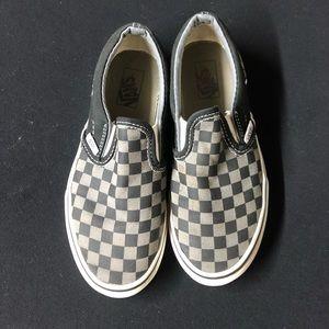 Vans - Black & Gray Checkered Slip-Ons - Size 3